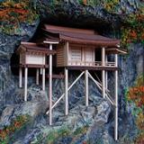 三徳山三佛寺奥院 国宝 投入堂1/75精密木造建築模型